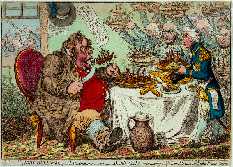 John Bull taking a Luncheon. Or British Cooks, cramming Old Grumble-Gizzard, with Bonne-Chere